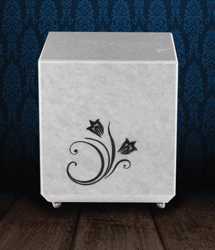Urna cineraria in Marmo grigio con incisione fiore dipinto a mano