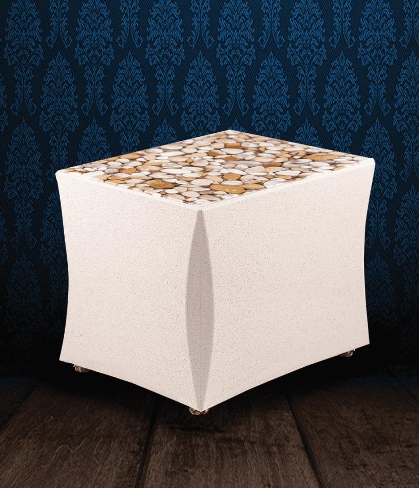 Urna cineraria in Marmo color crema e coperchio in ciottoli di Marmo