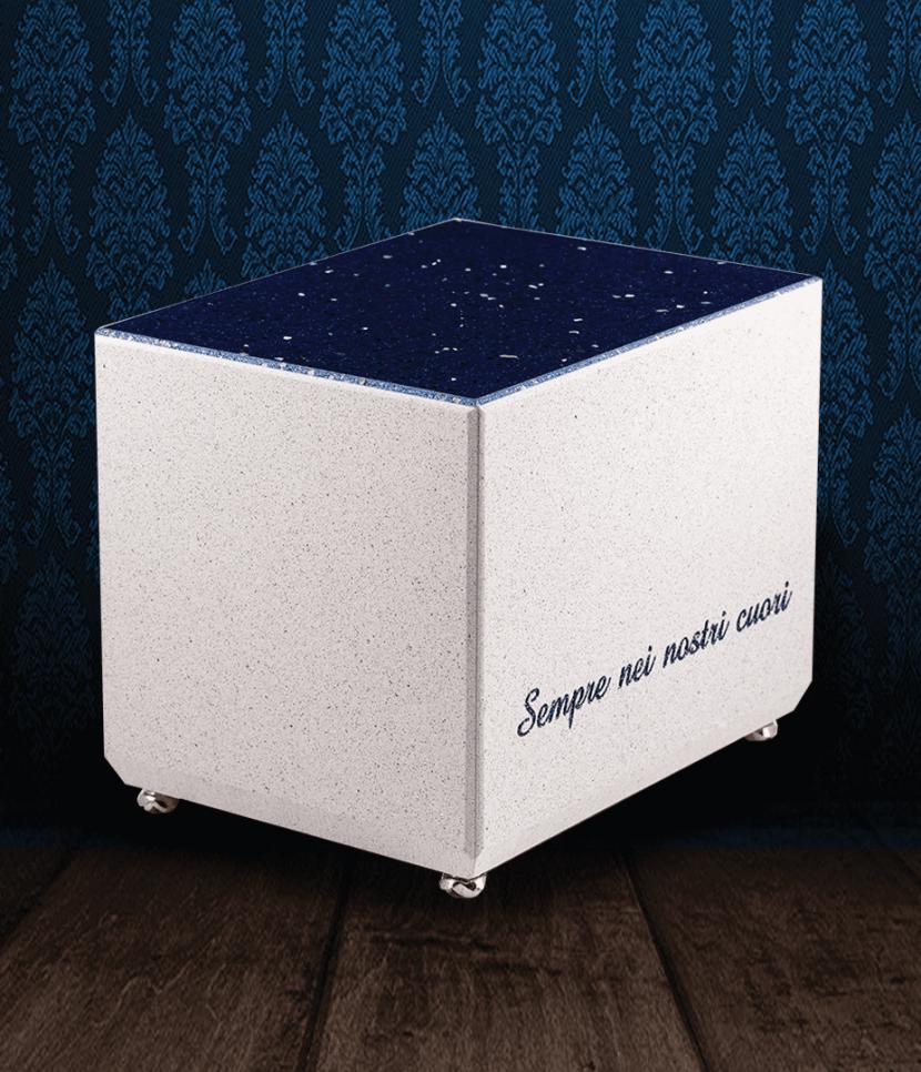 Urna cineraria in Marmo bianco e Starlight blu con dedica incisa