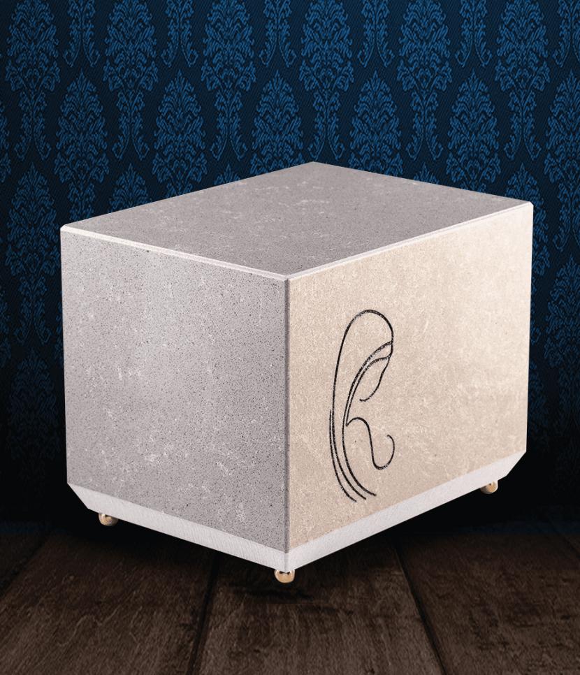 Urna cineraria in pregiato Marmo Trani con incisione Madonna