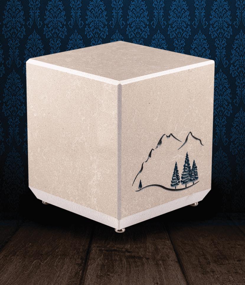 Urna cineraria in pregiato Marmo Trani con paesaggio montano inciso