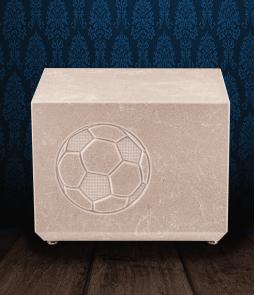 Urna cineraria in pregiato Marmo Trani con pallone da calcio inciso