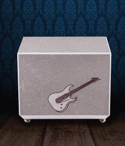 Urna cineraria in Marmo grigio con incisione chitarra elettrica dipinta a mano