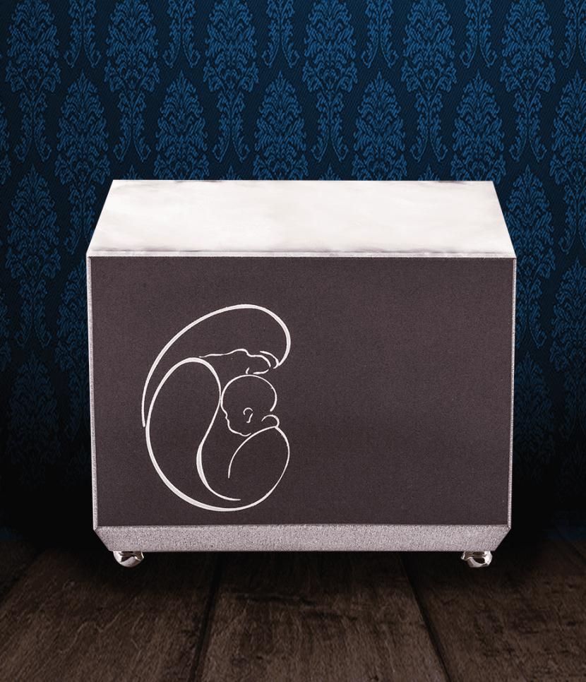Urna cineraria in Marmo nero e coperchio in pregiata Onice bianca Madonna Con Bambino incisi