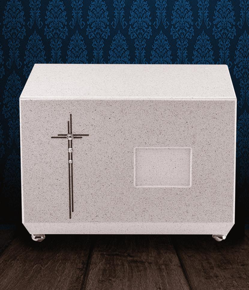 Urna cineraria in Marmo grigio con croce incisa e Swarovski