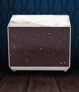 Urna cineraria in Marmo Starlight nero e pregiata Onice Bianca