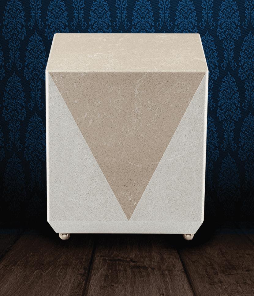 Urna cineraria realizzata in pregiato Marmo Trani e marmo grigio