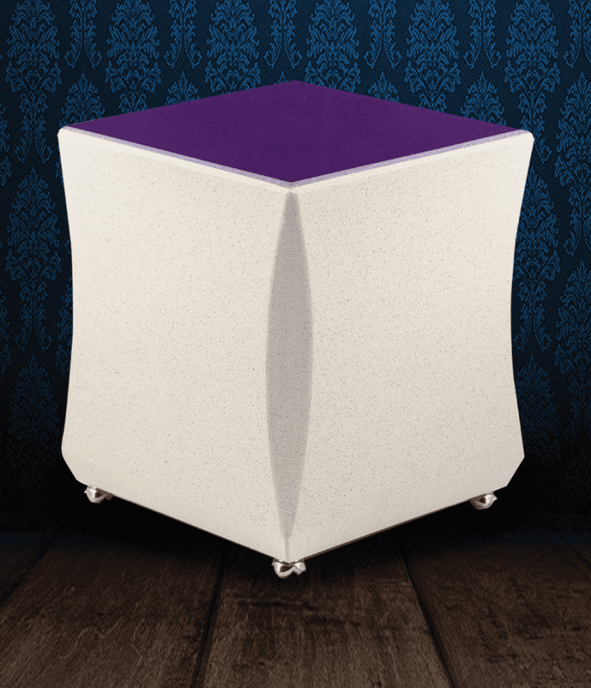 Urna cineraria in Marmo beige e viola