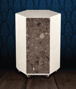 Urna cineraria easgonale in pregiato Marmo Trani e Napoleon Brown