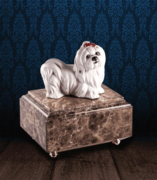 Urna per animali in pregiato Marmo Imperador Dark e Maltese in fine ceramica dipinto a mano