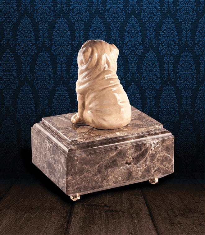 Urna per animali in pregiato Marmo Imperador Dark e Shar Pei in fine ceramica dipinto a mano