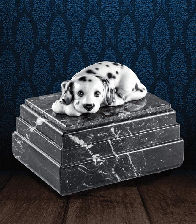 Urna per animali in pregiato Marmo Grigio Carnico e Dalmata in fine ceramica dipinto a mano