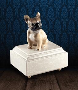 Urna per animali in Botticino Naturale con Bulldog Francese in fine ceramica dipinto a mano