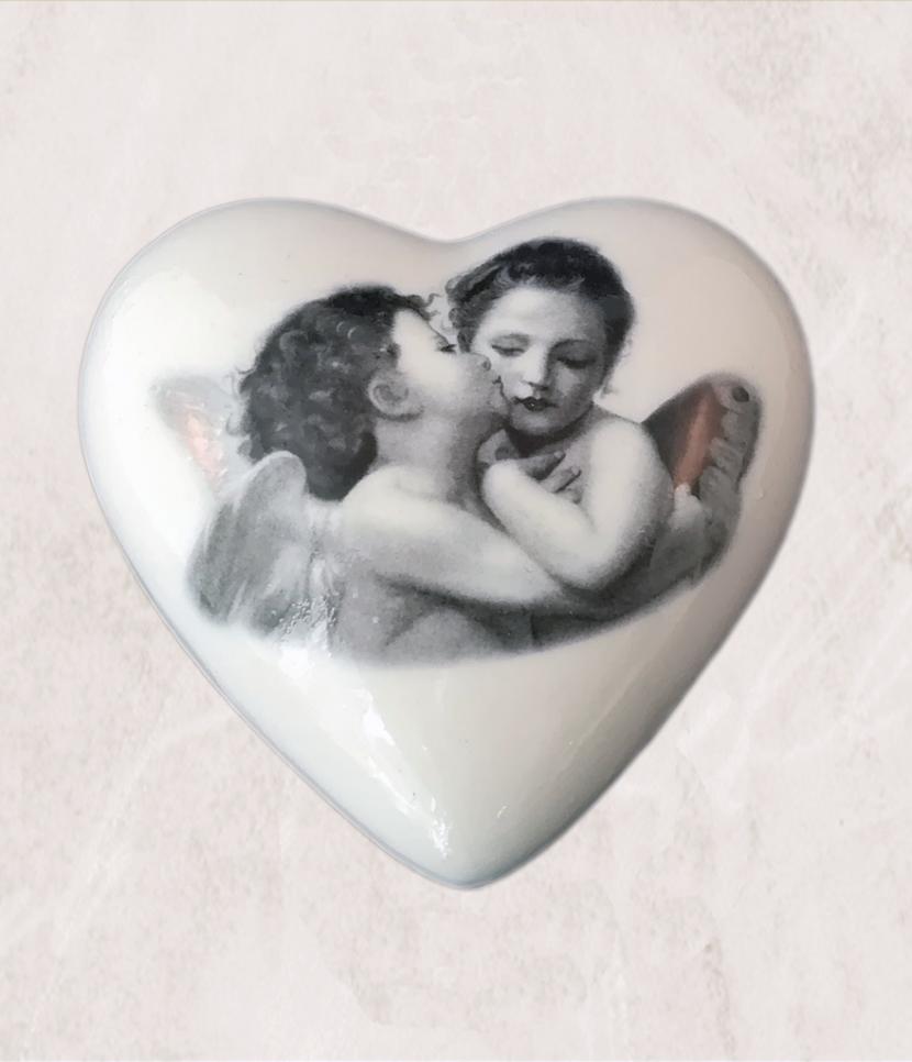cuore in ceramica personalizzabile medio