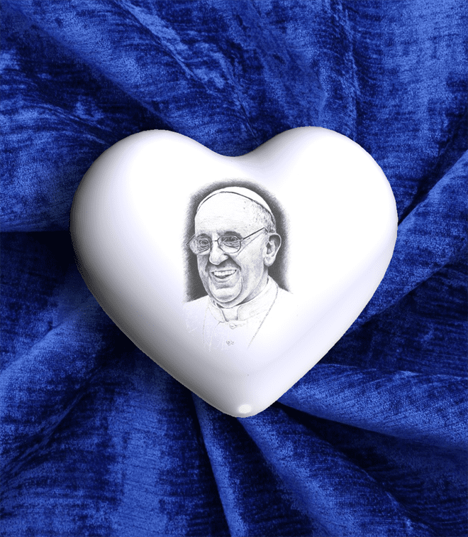CUORE IN CERAMICA MEDIO CON PAPA FRANCESCO